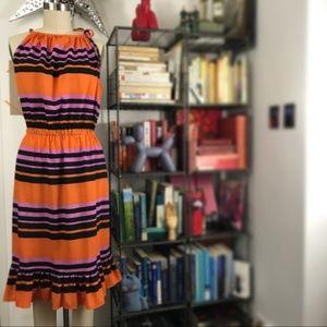 Joe Fresh Striped Pencil Halter Dress w Hem Flare